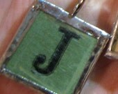 Reserved for Jamey-Vintage scrabble tile pendant J