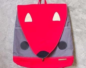 Red Squirrel, Laptop Backpack, Laptop Bag, Vegan Bag, Womens Backpack, Mens Backpack, Diaper Backpack Bag - RED GRAY - 4 WEEKS turnaround
