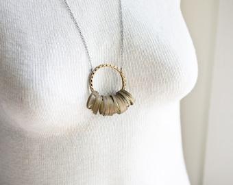 Brass Ring Necklace - Brass Necklace - Brass Charm Necklace - Bohemian Necklace - Boho Charm - Bohemian Jewelry
