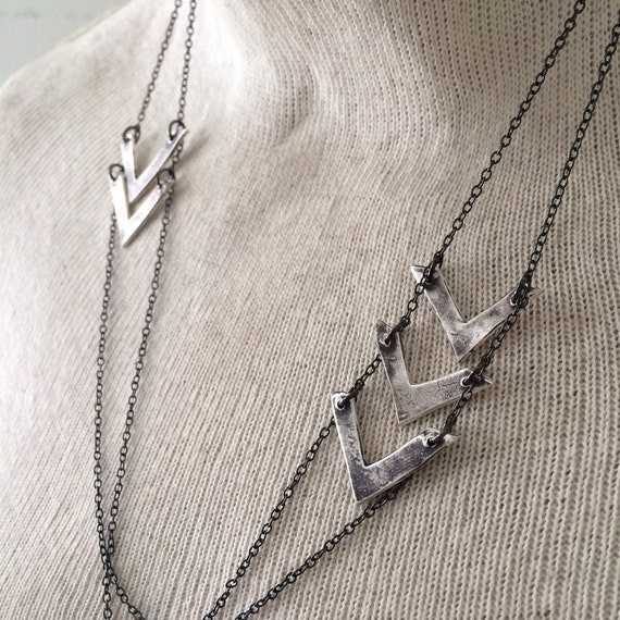 radar necklace - arrow necklace - bohemian necklace - boho arrow necklace - chevron necklace - chevron jewelry - sterling silver chevron