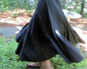 Vintage Black Taffeta Flared Skirt