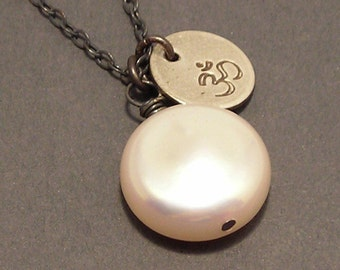Om, White Coin Pearl, Sterling Silver, Charm Necklace, erinelizabeth