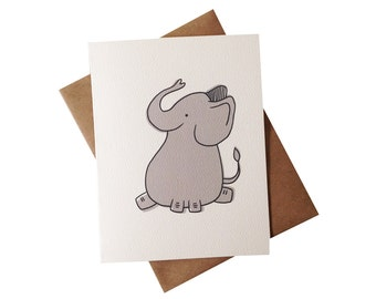 Baby Elephant Card - cute animal greeting - kids thank you card