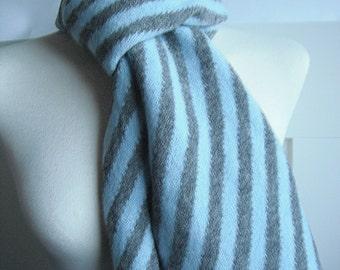 Slate Grey Scarf with Diagonal Stripes in Duckegg Blue - Felted  Lambswool
