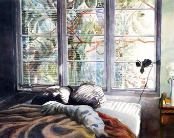 Bedroom Art Watercolor Print Painting of a Ben and Windows Nested Belinda DelPesco