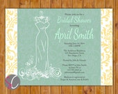 Bridal Gown Dress Shower Invite Grayed Jade Mint Pale Yellow Damask Bride to Be Shower Wedding Invitation White Dress (221)