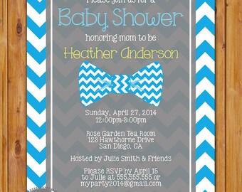 Little Man Bow Tie Baby Shower Invitation Blue Chevron Shower Invite 5x7 Digital Invite (231)
