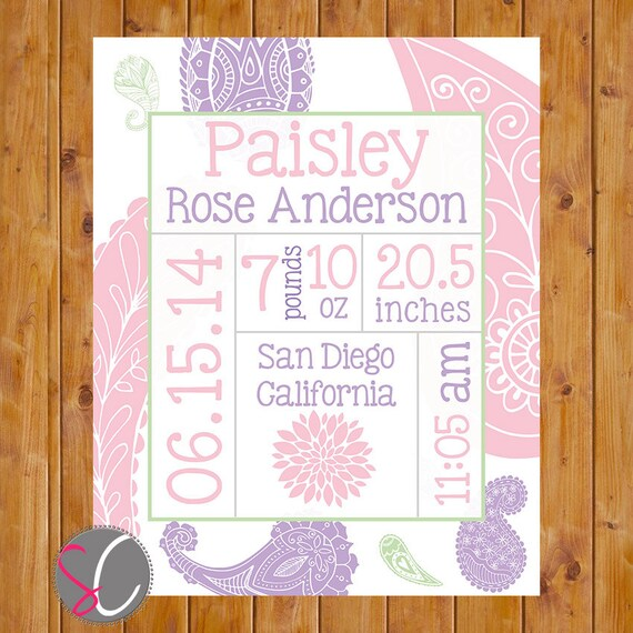 Paisley Birth Announcement Wall Art Pink Lilac Stats Flower