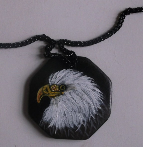 American Bald Eagle chain Necklace Hand Painted Ceramic Pendant