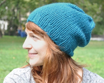 Teal Blue Knit Hat - Wool Ribbed Knit Slouch Hat - Unisex