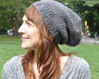 Charcoal Gray Women's Knit Hat - Wool Ribbed Slouchy Knit Hat - Unisex - Women's gift