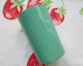 Vintage Hazel Atlas Juice Glass Tumbler Fired On Green Color