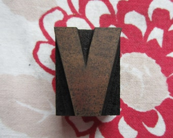 Letter V Antique Letterpress Wood Type Printers Block