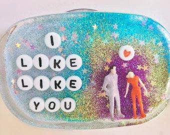 MADE TO ORDER - Unusual Bathroom Decor: I Like Like You, Valentine Gift, Love, Gift for Crush, Bathroom Decor