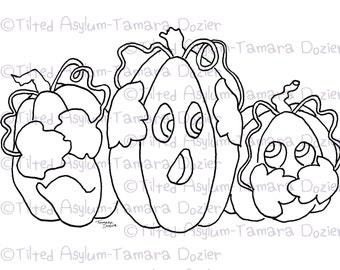 Digital Stamp 3 evils pumpkins TDozier