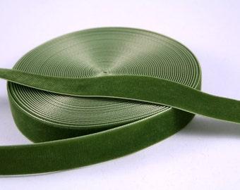 Dark Olive Green 22 mm Polyester Velvet Ribbon- 1 Yard
