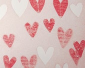 Love 13 red and white HEARTS monotype 4.25 x 4 inches OOAK