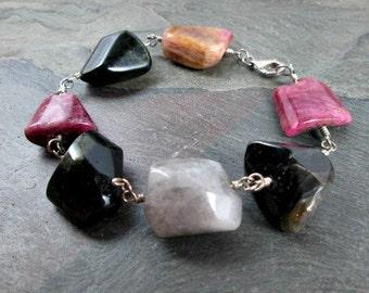 Tourmaline Bracelet - Gemstone Bracelet - Sterling Silver - Wire Wrapped - Gemstone Jewelry