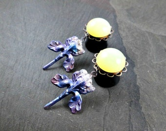 "Dangle Plugs - 9/16"" 14mm - Yellow Glass Gems - Rainbow Iris - Flower Plugs - Flower Gauges - Rainbow Flower"
