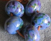 African Violet 5  Lampwork Spacer Beads Purple Pink Blue  sra