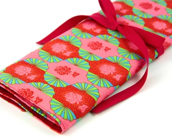 Knitting Needle Case - Dresden Sunset - IN STOCK Large Organizer 30 Red Pockets for All Sizes