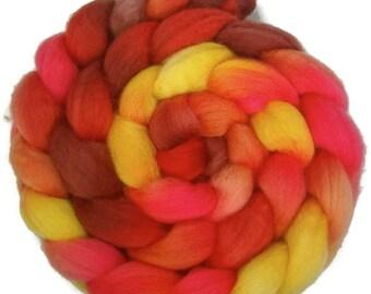 Handpainted BFL Wool Roving - 4 oz. TIGER LILY - Spinning Fiber