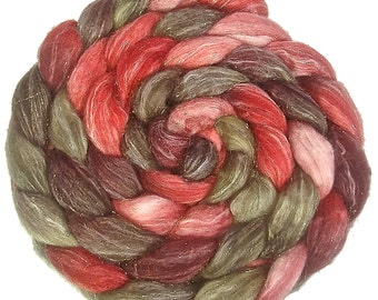 Handpainted Glitter Roving Superwash Merino/Gold Stellina - 4 oz. PAPER ROSES - Spinning Fiber