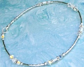 Ankle Bracelet White Glass and Crystal Sterling Silver Anklet