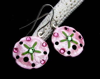 Sand Dollar Earrings Handpainted Pearlescent Pink and Lime