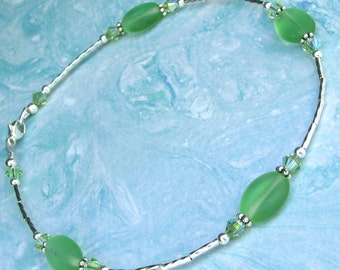Sterling Silver Ankle Bracelet Frosted Peridot Crystal and Glass Anklet