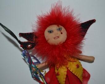 Mardi Gras Doll, OOAK Fiber Art Doll, Mardi Gras Doll, Fairy Wallhanging, Mardi Gras Fairy