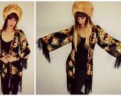 Fringe Kimono, Floral Fringe Kimono, Fringe Floral Shawl, Fringe Shawl, Piano Shawl, Fringe Piano Shawl, Floral Piano Shawl, Boho Kimono