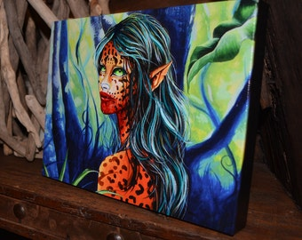 RW2 Jaguar Girl embellished Canvas print by Robert Walker painting VERY Limited Edition