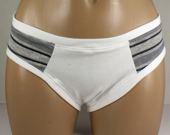 SALE Gray Striped Knit Boycut Panties Large X large Handmade