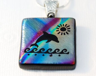 Etched Dichroic Dolphin Pendant, Dichroic Glass, Etched Glass, Fused Glass Dolphin