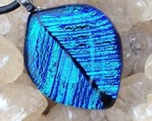 Dichroic glass leaf pendant necklace leather cord blue