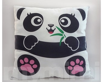 Panda, Decorative Panda Pillow, Stuffed Animal, Kids Cushion Throw Pillow, Home Decor, Nursery Decor, Dorm Decor, Stuffed Toy, 16 x 16""