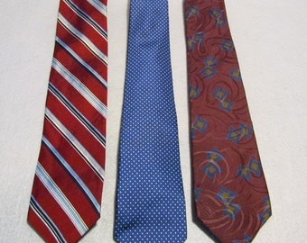 3 Vintage Ties - Burgundy, Blue and Gold REDUCED