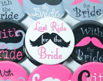 12 Bridesmaid Buttons, Bachelorette Party Buttons, Mustache Buttons