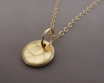 14k Yellow Gold Necklace - Hand Hammered Recycled Gold - 5/16""