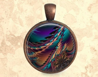 Jeweled Fractal Pendant, Necklace or Key Chain - Choice of 4 Bezel Colors