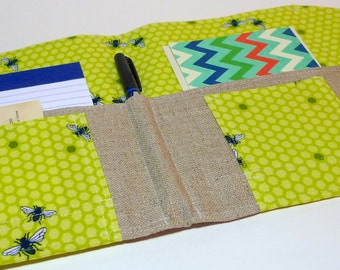 NEW PRINT Resolution to Write and Journal- Organizer for Coupons, Stationery, Passports In Touch Clutch inLime Green Bumble Bee Honeycomb