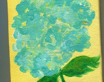 Blue Hydrangea original mini painting on Canvas Easel, small hydrangea art, flower wall art, small hydrangea mini canvas art painting
