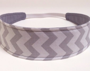 Headband Reversible Fabric  -  Grey & White Chevron  -  Headbands for Women - GREY CHEVRON