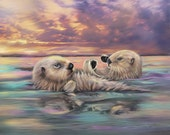 Sea Otter Painting Otter artwork on Canvas 16 x 20 Sea Otters holding hands Sunset ocean Cabin Decor Cottage Decor