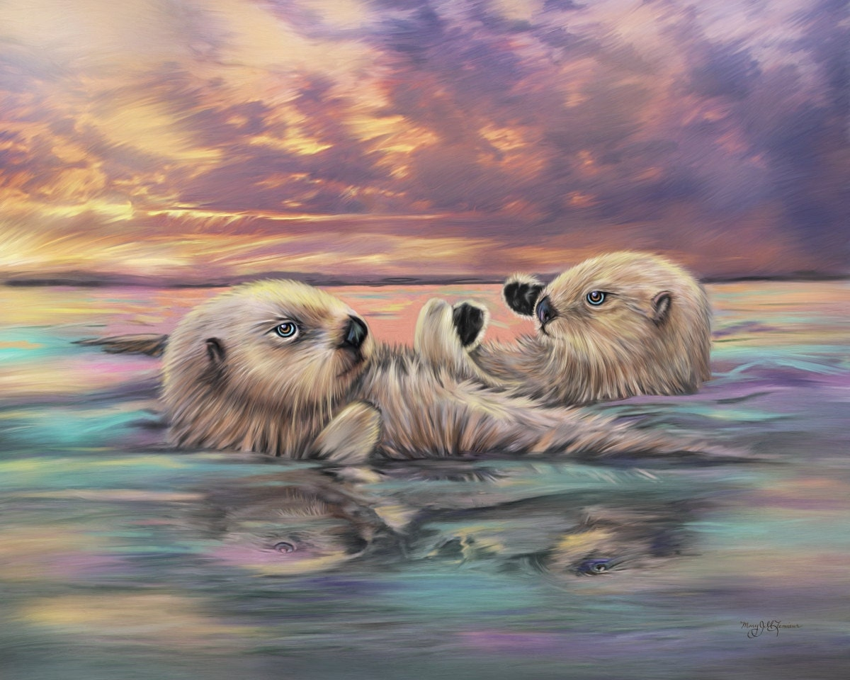 Sea otter painting otter artwork on canvas 16 x 20 sea otters for Watercolor paintings of hands