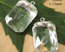 SALE Clear Glass Beads, Silver Plated Brass Settings, 18mm x 13mm, Octagon, Rhinestone, Glass Gems, Cabochon, Minimalist, One Pair