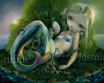 Stranded art print by Jasmine Becket-Griffith 8x10 mermaid deserted island beached isolated