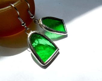 Green Stained Glass Earrings