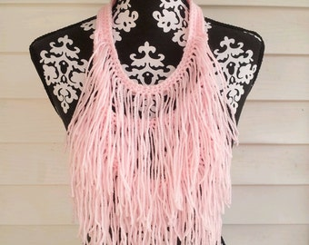 Pink Hand Crocheted Bohemian Statement Necklace